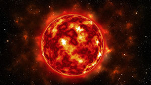 Artwork depicting a low-mass red dwarf star.