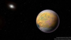 Artwork depicting Planet Nine, a theorized super-Earth orbiting the Sun several tens of billions of kilometers out. Observations of distant icy worlds imply this planet exists.