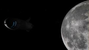 SpaceX image of the BFR orbiting the moon