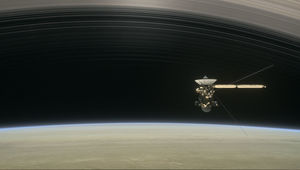 Artist drawing of Cassini as it readies to pass between the inner rings and Saturn's atmosphere. Credit: NASA/JPL-Caltech