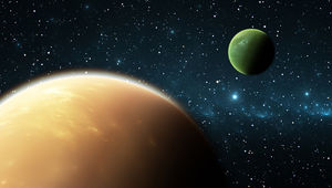 Artwork depicting a gas giant exoplanet with a gas giant exomoon.