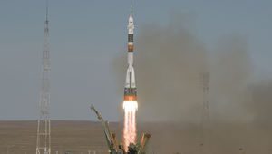 The launch of the Russian Soyuz rocket with two humans on board bound for the ISS on October 11, 2018. Two minutes into the flight a rocket failure forced the emergency landing of the capsule and crew. Credit: NASA/Bill Ingalls