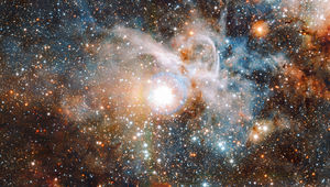 The Carina Nebula, a huge star-forming complex, seen here in the infrared by the Very Large Telescope Survey Telescope. Credit: ESO/J. Emerson/M. Irwin/J. Lewis