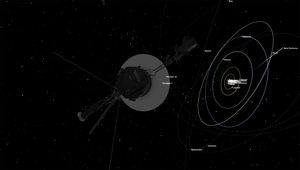 Voyager 1 heading away from the solar system. Credit: NASA's Eyes on the Solar System