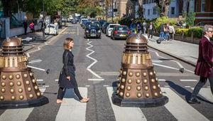 Peter Capaldi and Jenna Coleman recreate the famous Abbey Road photo for Doctor Who