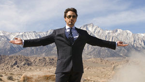 Iron Man- Robert Downey Jr. as Tony Stark posing during a bomb test
