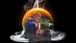 Trump in front of the melting Earth