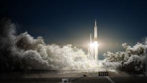 artwork of a Falcon Heavy launch