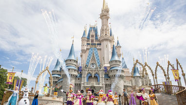 Magic Kingdom with characters in front
