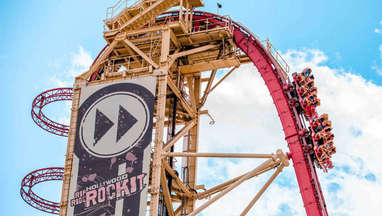 The large drop of Universal's Hollywood Rip Ride Rockit rollercoaster at Universal Studios Florida
