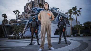 Loki Stands Between TVA Agents at Avengers Campus at Disney California Adventure