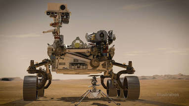 Artwork depicting the Perseverance rover on the surface of Mars with the Ingenuity helicopter deployed. Credit: NASA/JPL-Caltech