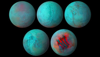Five infrared views of Saturn's moon Enceladus from Cassini, showing fresh ice (red).