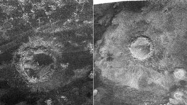 A pair of craters on Saturn's moon Titan mapped by Cassini's radar. Credit: NASA/JPL-Caltech/ASI
