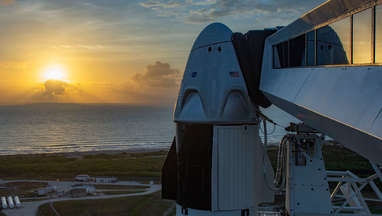 The Sun rises on the Crew Dragon atop a Falcon 9 in the shortly before the Demo-2 launch, returning American astronauts to space from American soil. Credit: SpaceX