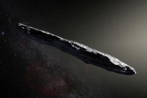 'Oumuamua, an asteroid from another solar system, is quite elongated and look very much like this artist's impression of it. Credit: ESO/M. Kornmesser