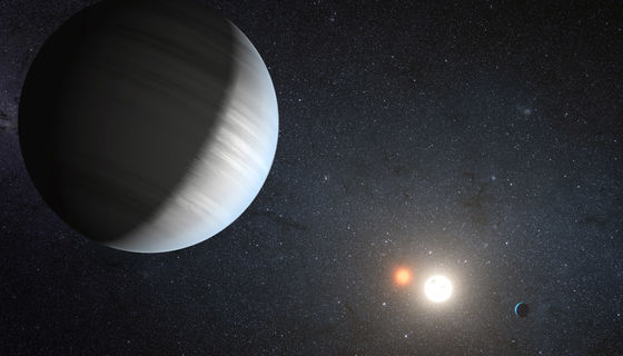 Artwork depicting two of the three planets known to be orbiting the binary star Kepler-47. Credit: NASA Ames/JPL-Caltech/T. Pyle