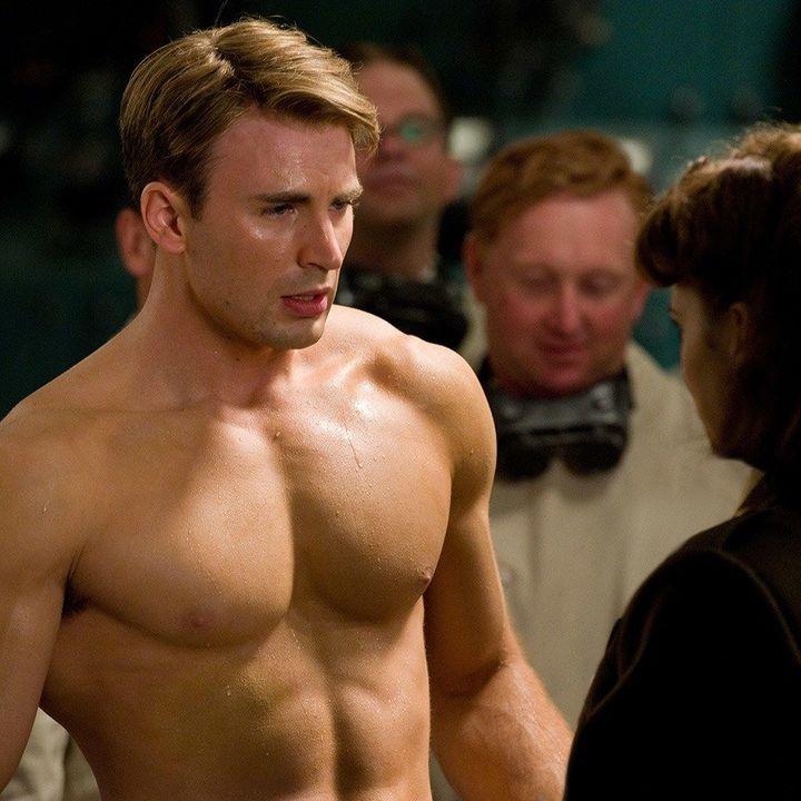 Captain America shirtless