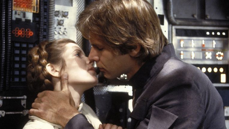 Han and Leia kiss, Star Wars