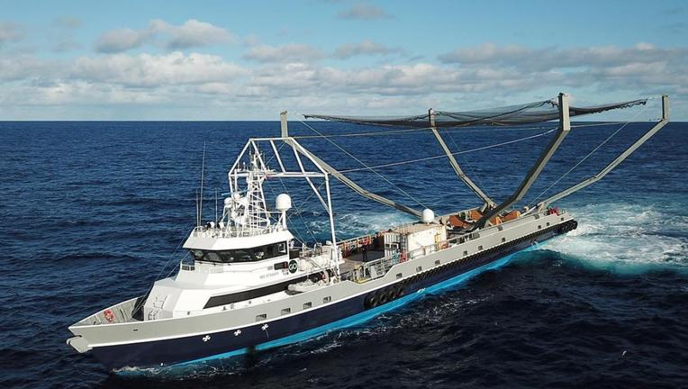 SpaceX payload fairing catching device on boat Mr. Steven