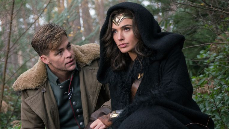 Diana Prince and Steve Trevor, Gal Gadot and Chris Pine, Wonder Woman