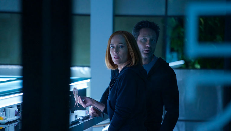 X-Files episode 1107 - Mulder and Scully having sushi