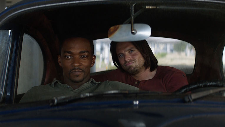 Captain America: Civil War- Bucky Barnes and Sam Wilson in car (Anthony Mackie and Sebastian Stan)
