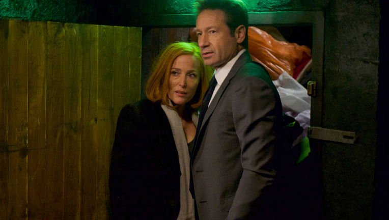 The X-Files episode 1109 Nothing Lasts Forever. Mulder and Scully standing close