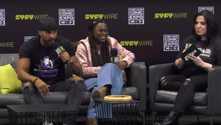 American Gods Ricky Whittle, Yetide Badaki, C2E2 SYFY WIRE Interview Screengrab