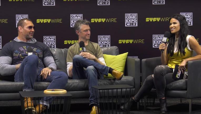 Guardians of the Galaxy Dave Bautista, Sean Gunn C2E2 interview SYFY WIRE screebgrab