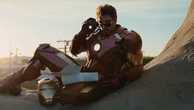 Iron Man 2- Tony Stark (Robert Downey Jr) in the donut