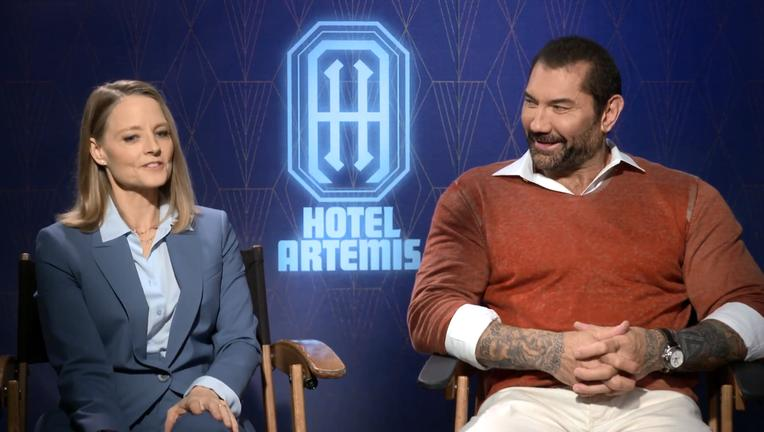 Hotel Artemis Jodie Foster Dave Bautista SYFY WIRE Interview Screengrab