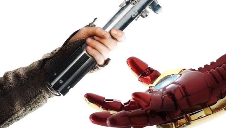 star wars mcu marvel iron man light saber