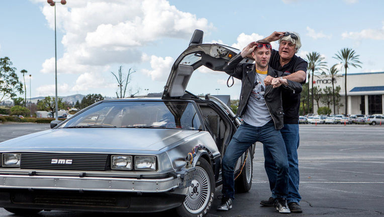 Jay Leno Chris Hardwick DeLorean.JPG