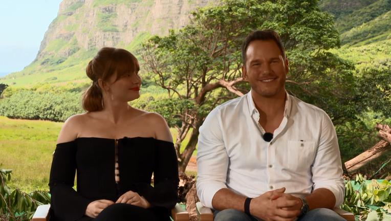 Jurassic World Fallen Kingdom Chris Pratt Bryce Dallas Howard Interview SYFY WIRE Screengrab