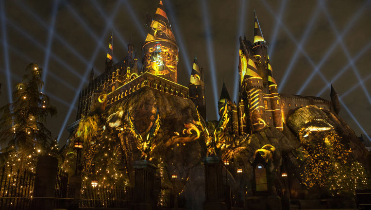 The NighttimeLights at Hogwarts Castle at Universal Studios Hollywood