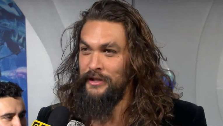 Jason Momoa Aquaman blue carpet hero