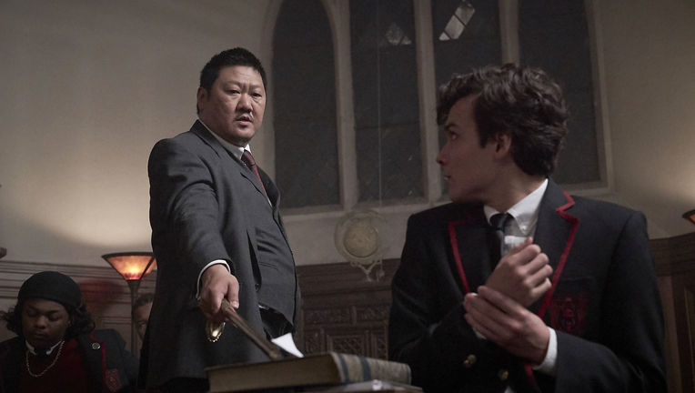 "DEADLY CLASS -- ""Reagan Youth"" Episode 100 -- Pictured: (l-r) Benedict Wong as Master Lin, Benjamin Wadsworth as Marcus"
