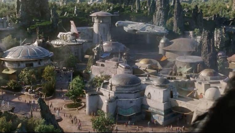 Star Wars: Galaxy's Edge Concept Art- Falcon landing at Black Spire Disney Parks