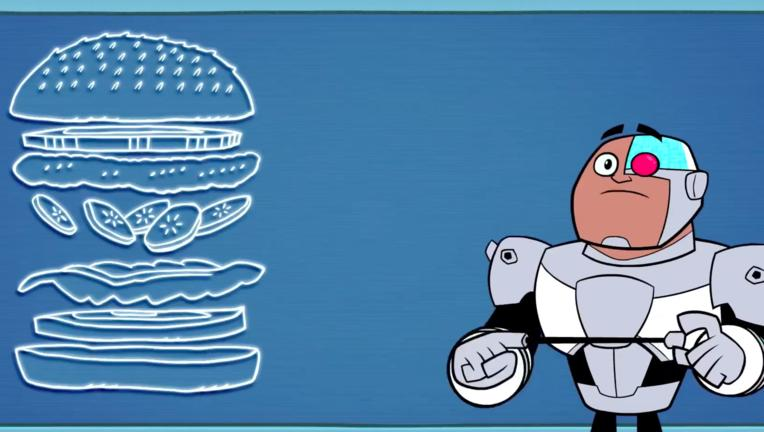 Teen Titans Go cyborg burger via DC YouTube 2019