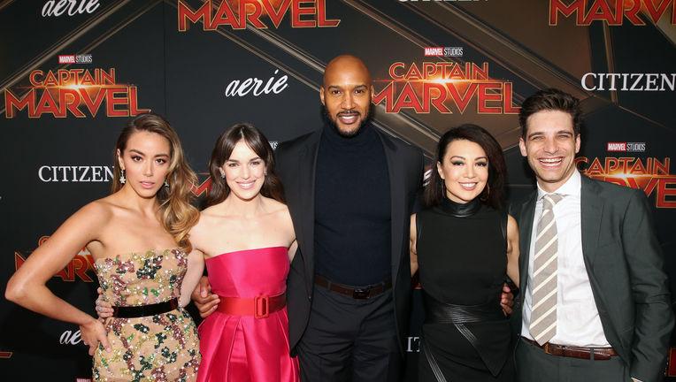 Chloe Bennet, Elizabeth Henstridge, Henry Simmons, Ming-Na Wen, Jeff Ward at the Captain Marvel premiere