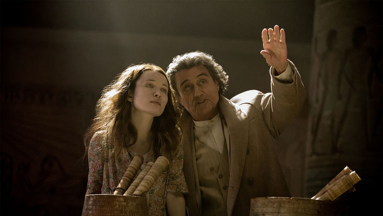 Emily Browning and Ian McShane in American Gods