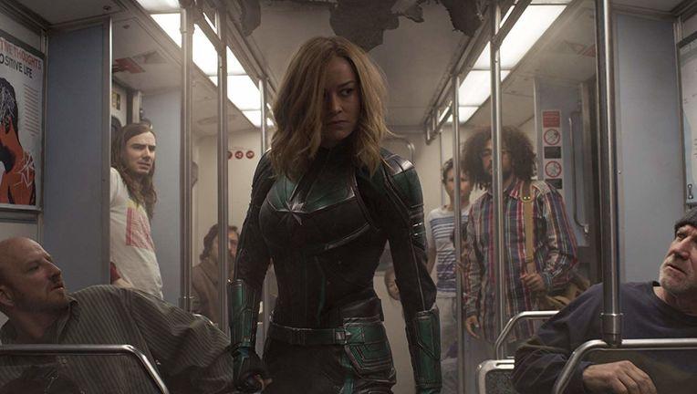 Captain Marvel Carol on train