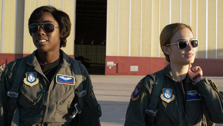 Lashana Lynch and Brie Larson in Captain Marvel