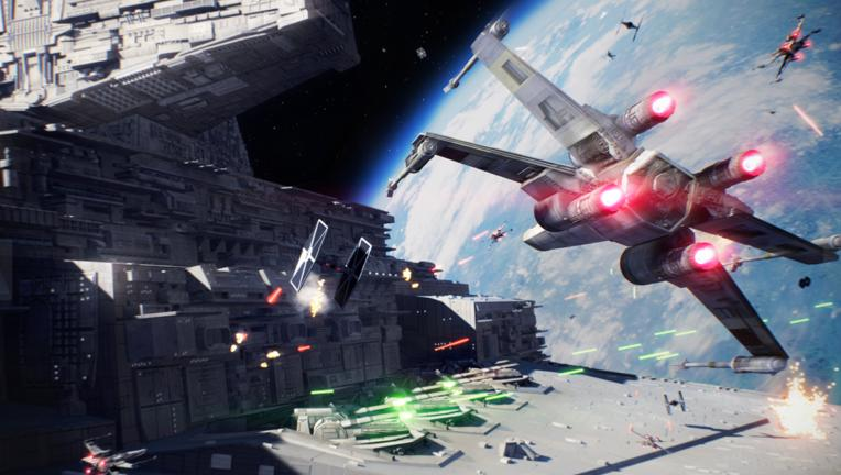 Star Wars Battlefront II X-Wing dogfight