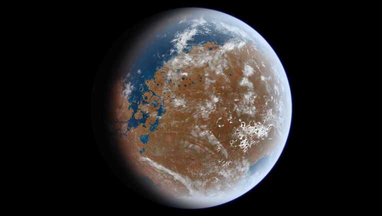 Billions of years ago, Mars had surface water: lakes, rivers, and oceans. This artwork uses actual topographical data to map where that water would have been. Credit: lttiz / wikipedia