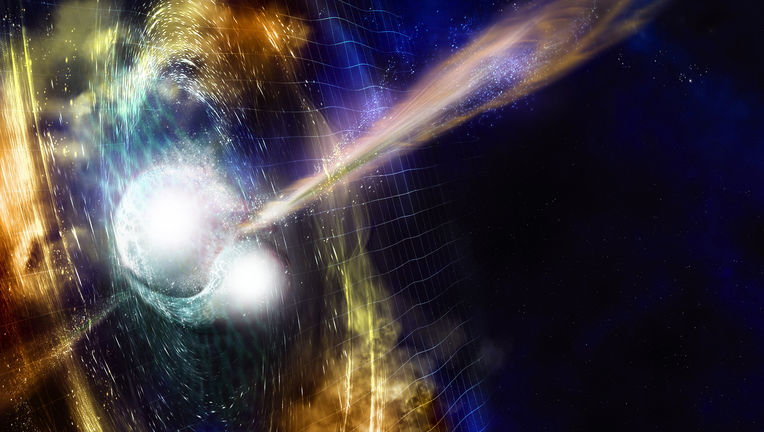 Artwork showing the moment of the neutron star collision, with beams of energy shooting out and gravitational waves shaking ripples in the space-time continuum. Credit: NSF/LIGO/Sonoma State University/A. Simonnet