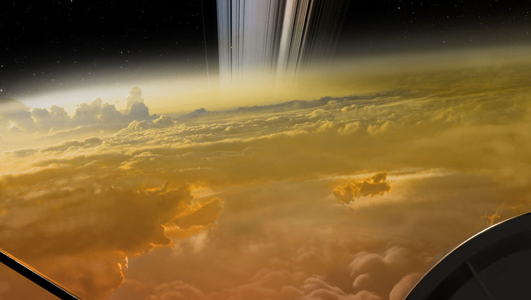 "Artwork  — yes, ARTWORK — depicting a view ""over the shoulder"" of the Cassini spacecraft during one of the last dives toward Saturn it made before the end of the mission. Credit: NASA/JPL-Caltech"