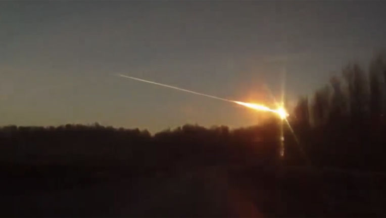 The Chelyabinsk, Russia fireball on Feb. 15, 2013, seen from a dashboard camera. Credit: Евгений Славенков via YouTube