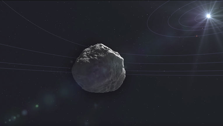 Artwork depicting the comet K2 as it approached the inner solar system in 2022 (planet orbits added for scale). Credit: NASA, STScI, and Goddard Space Flight Center